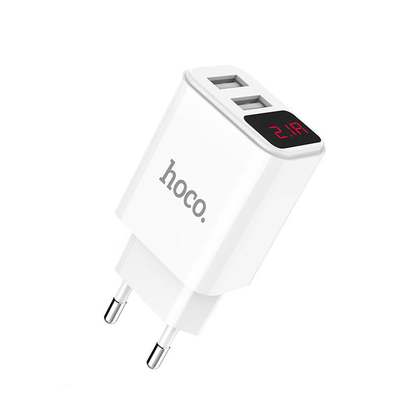 Hoco. 2.1A Dual USB Port LED Current Display Type C Micro USB Fast Charging EU plug Charger Adapter For iPhone X XS Max Xiaomi Mi8 Mi9 S10 S10+