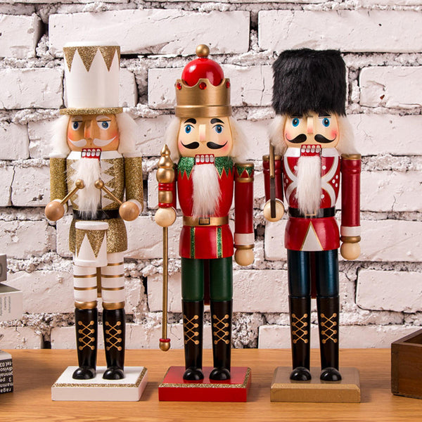 35cm Wooden Nutcracker Doll Soldier Vintage Handcraft Decoration Christmas Gifts