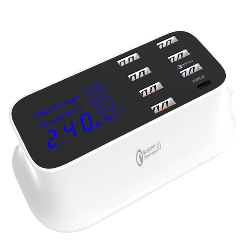 Bakeey 8 Port USB 40W Quick Charge 3.0 Type-c LED Display Charger For Samsung Huawei Xiaomi
