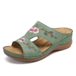 LOSTISY Women Flower Embroidery Open Toe Casual Summer Wedge Sandals