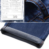 Mens Spring Summer High Rise Loose Business Cotton Blue Jeans - EY Shopping