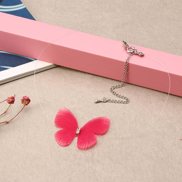 Colorful Elegant Choker Necklace Butterfly Rhinestone Invisible Necklace for Women