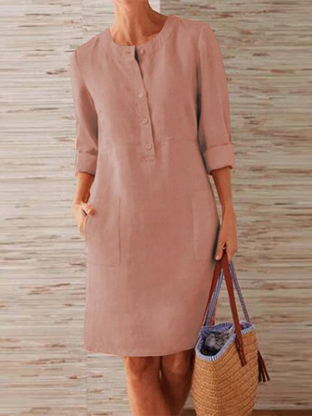 Women Pure Color O-Neck Side Pockets Long Sleeve Dress - EY Shopping
