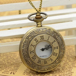 DEFFRUN Vintage Bronze Antique Roman Numbers Quartz Pocket Watch