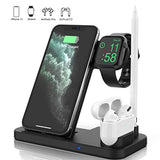 New High Quality Updated Version 4 in 1 Wireless Charger, Apple Watch & AirPods & Pencil Charging Dock Station, Nightstand Mode for iWatch Series 5/4/3/2/1, Fast Charging for iPhone 11/11 Pro Max/XR/XS Max/Xs/X/8/8P USA Imported Product - EY Shopping