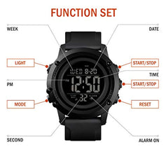 Fashionable sporty dial design Men's Digital Sports Watch Large Face Waterproof Wrist Watches for Men with Stopwatch Alarm LED Back Light USA Imported Product