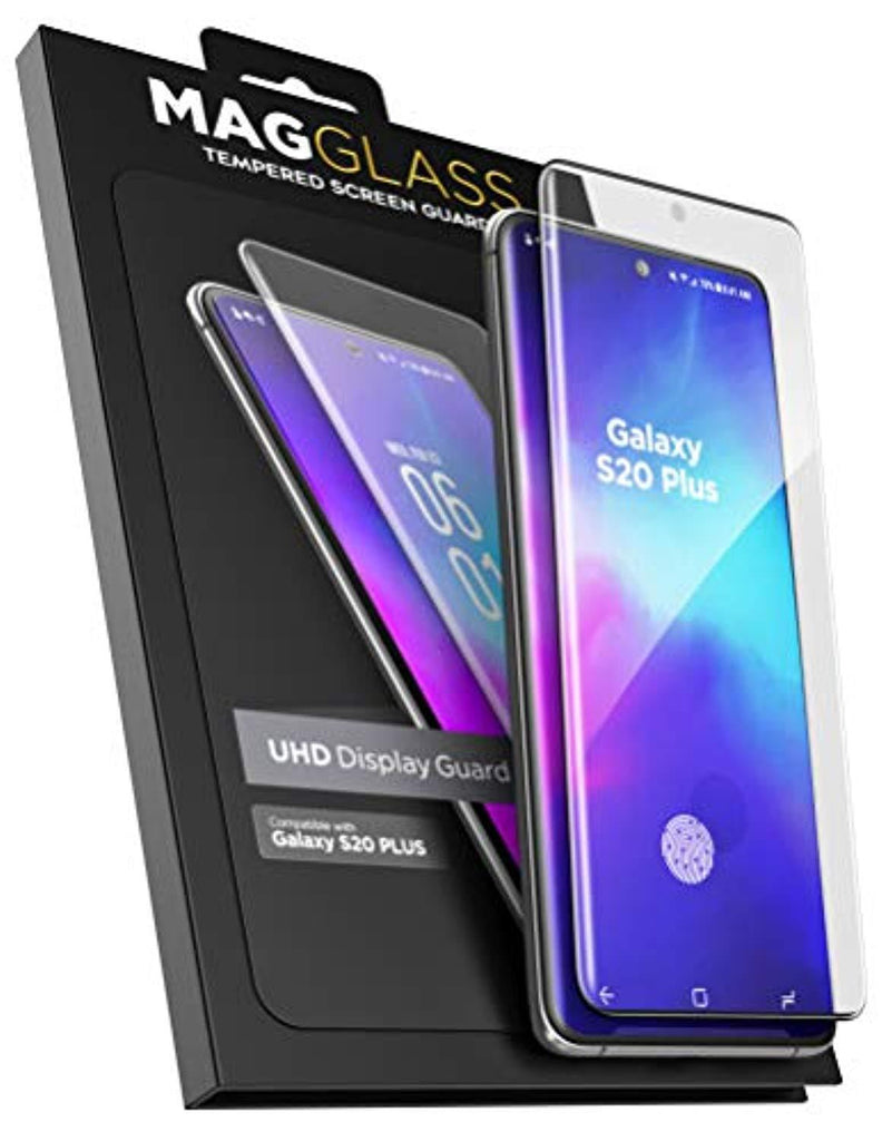 High Quality HD Clear screen protector Magglass Samsung Galaxy S20 Plus Tempered Glass Screen Protector with in Screen Fingerprint Sensor - Anti Bubble UHD Clear Scratch Resistant Display Guard (Case Compatible) USA Imported Product - EY Shopping