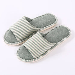 Women Open Toe Striped Comfy Home Slippers
