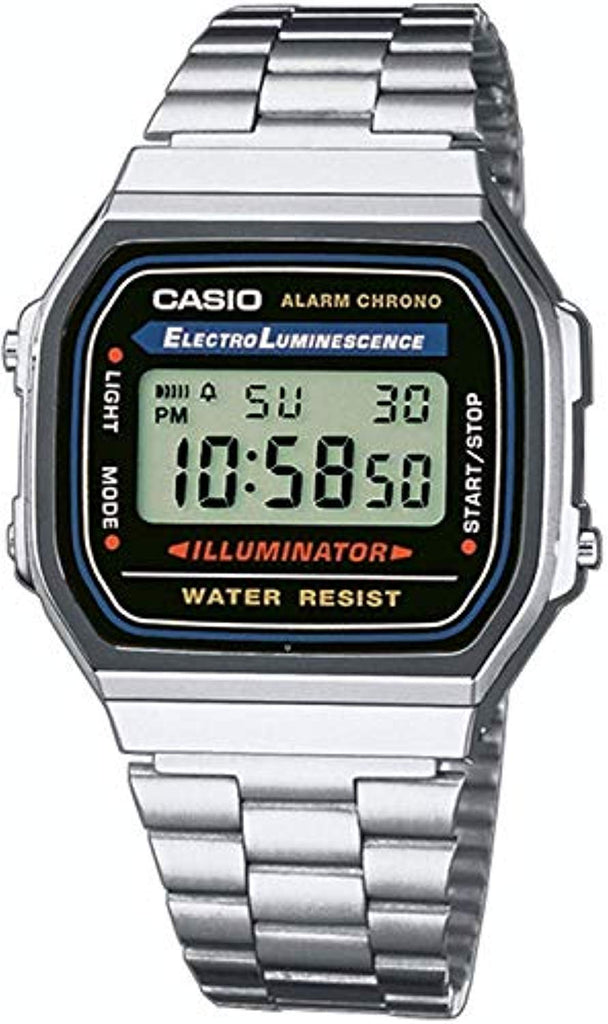 Casio Men's Vintage A168WA-1 Electro Luminescence Watch Protective mineral crystal protects watch from scratches USA Imported Product - EY Shopping