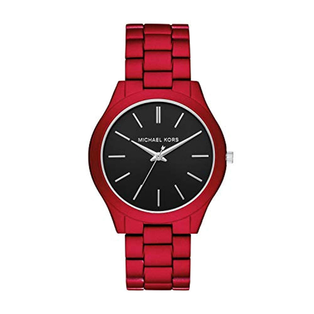 Michael Kors 44mm Case Men's Slim Runway Three-Hand Red-Tone Stainless Steel Watch MK8768 USA Imported Product