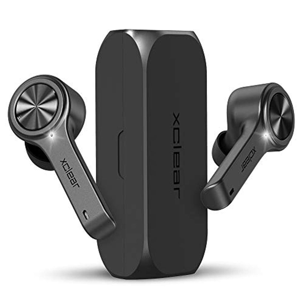 USA Imported Product, XCLEAR Products smartphone Bluetooth Wireless Earbuds with Immersive Sounds True 5.0 Bluetooth in-Ear Headphones with Charging Case/Quick-Pairing Stereo Calls/Built-in Microphones/IPX5 Sweatproof/Pumping Bass for Sports Black