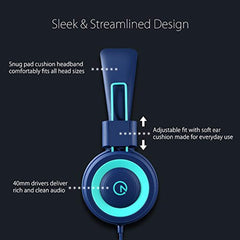 Remote or volume control on these headphones. Kids Headphones - noot products K11 Foldable Stereo Tangle-Free 3.5mm Jack Wired Cord On-Ear Headset for Children/Teens/Boys/Girls/Smartphones/School/Kindle/Airplane Travel/Plane/Tablet (Navy/Teal) USA Importe