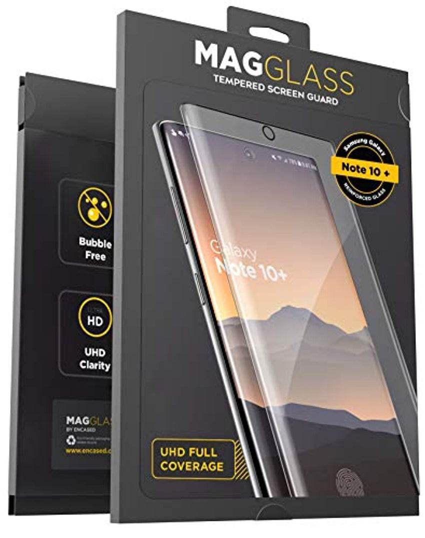 High Quality HD Clear screen protector Magglass Galaxy Note 10 Plus Tempered Glass Screen Protector w/Fingerprint Display Compatibility - Anti Bubble UHD Clear Full Coverage Resistant Screen Guard for Samsung Note 10+ (Case Friendly) USA Imported Product - EY Shopping
