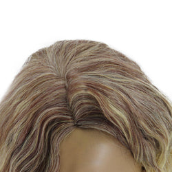 Synthetic Hair Blonde Short Water Wave Wig for Black Women Bobo Lolita Cute Cosplay Wigs with Bangs Heat Resistant