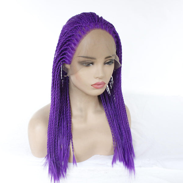 Cosplay Two Strands Of Chemical Fiber Front Lace Wig - Purple