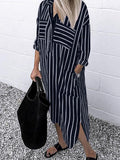 Pocket Lapel Button Down Long Sleeve Irregular Hem Casual Shirt Dress - EY Shopping