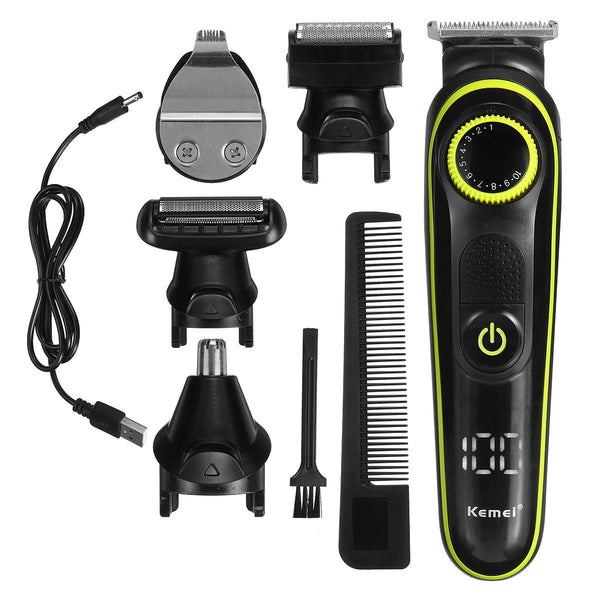 5 in 1 Electric Hair Clippers Household LED Display Multifunctional Rechargeable Shaver Nose Hair Trimmer