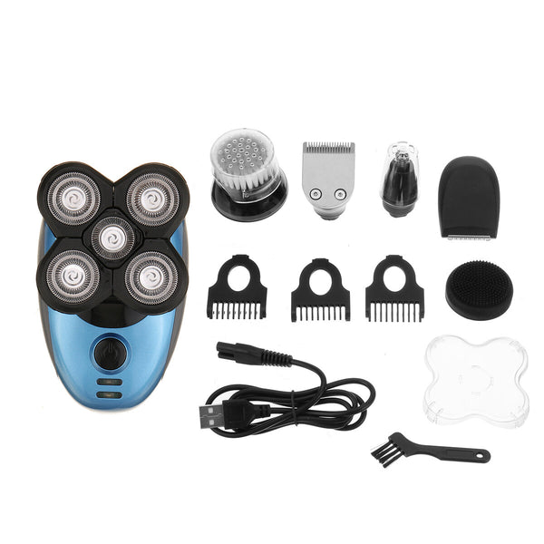 5 IN 1 4D Rotary Electric Shaver Multi-Function Rechargeable Bald Head Beard Trimmer Razor
