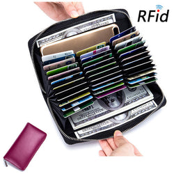 RFID Antimagnetic Genuine Leather 36 Card Slots Card Holder Long Wallet Purse For Women Men
