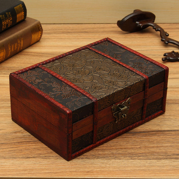 Red Vintage Retro Flower Carved Wooden Jewelry Gift Collect Box Case Holder