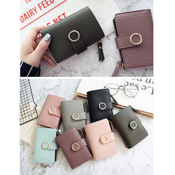 Women Ring Buckle Simple Zipper Wallet Purse Card Holder