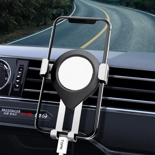 TOPK Metal Gravity Linkage Automatic Lock Air Vent Car Phone Holder For 4.5-6.5 Inch Smart Phone for iPhone for Samsung Xiaomi Redmi Note 8