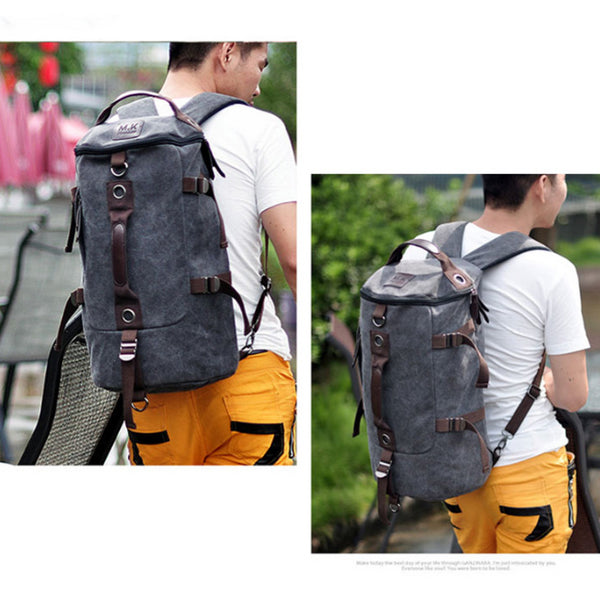 Men Large Capacity Canvas Travel Sports Backpack Handbag