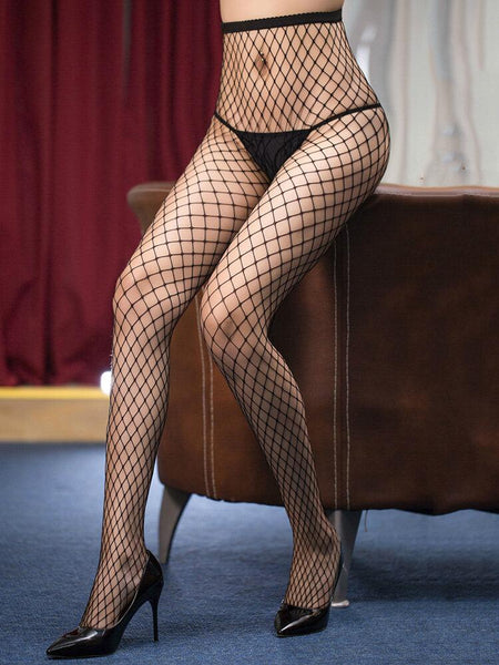 Women See Through Open Crotch Black Fishnet Pants - EY Shopping