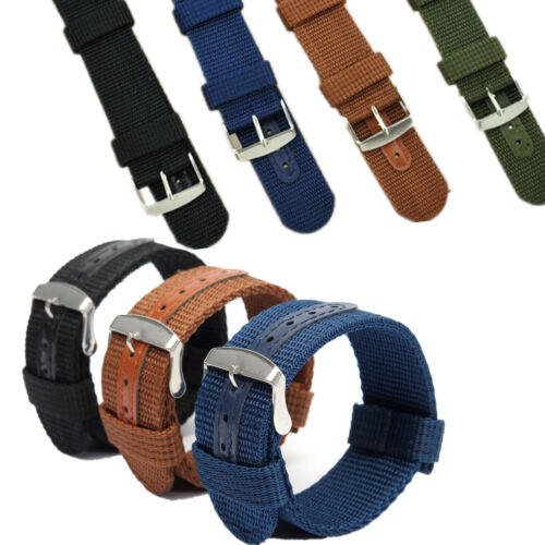 Waterproof Watch Band Mens Army Military Nylon Canvas Wrist Bracelet Strap Replacement