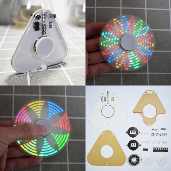 Geekcreit DIY Round Triangle LED POV Rotation Hand Spinner SMD Learning Kit