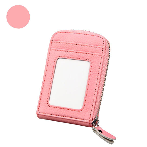 Women Genuine Leather Zipper RFID Card Holder Long Wallet Candy Color Coin Purse