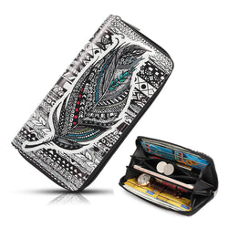 Women National Faux Leather Long Wallet Print Phone Purse