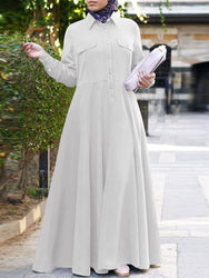 Women Solid Color Turn-down Collar Long Sleeve Maxi Shirt Dress - EY Shopping