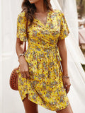 Cross Wrap Floral Print Bandage Short Sleeve Dress - EY Shopping