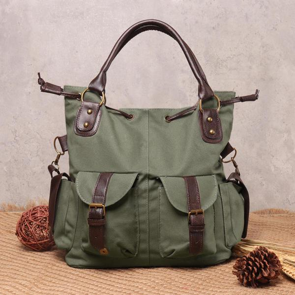 Women Casual Canvas Drawstring Handbag Multi Pocket Shoulder Bag Crossbody Bag - EY Shopping