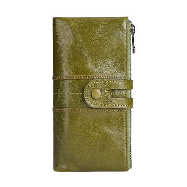 Women Genuine Leather RFID Antimagnetic Long Phone Wallet Card Holder Phone Bag