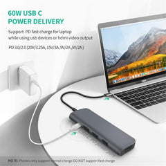 Bakeey USB C HUB Docking Station Type C to HDMI Adapter Converter  With 60W PD Power Delivery / USB3.0*3 / 4K HDMI / Memory Card Readers