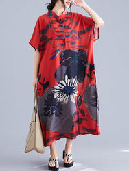 Ethnic Style Floral Print Button Down Short Sleeve Loose Vintage Shirt Maxi Dress - EY Shopping