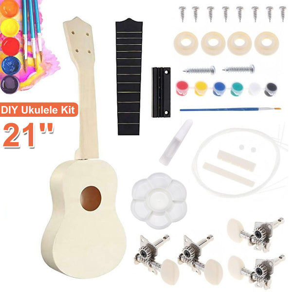 21 Inch Ukulele DIY Kit Miniature UKE Guitar Instrument Wooden Paint Build with Full Acc