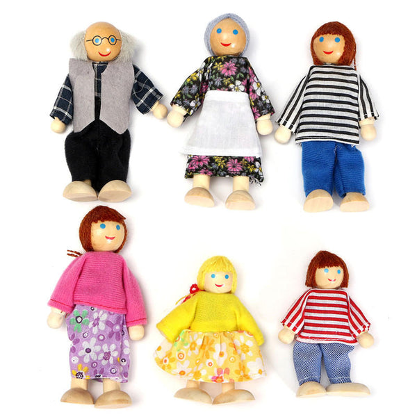 6PCS Wooden Family Members Dolls Set Kids Children Toy Dollhouse Figures Dressed Characters