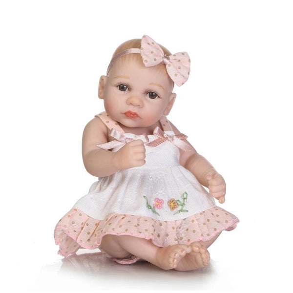 NPK 26cm Lovely Soft Full Silicone With Pasted Hair Can Wash Silicone Reborn Baby Doll