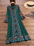 Women Vintage Floral Print V-Neck Puff Sleeve Dress - EY Shopping