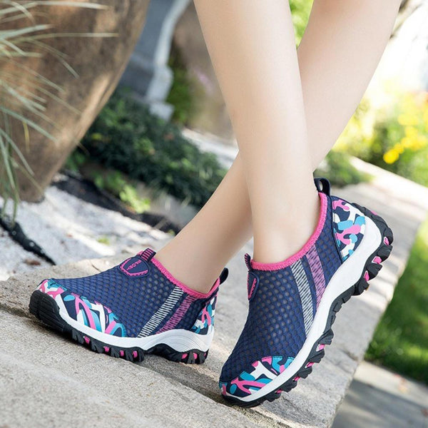 Casual Mesh Breathable Walking Sneakers Slip On Women Shoes - EY Shopping