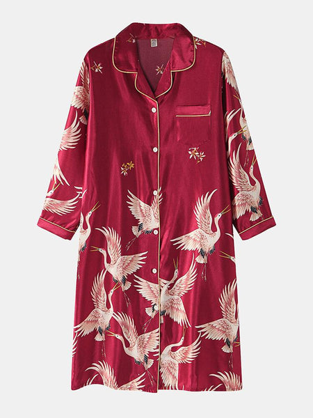 Women Crane Printed Faux Silk Comfy Chest Pocket Long Sleeve Sleepdress - EY Shopping