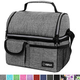lunch bag offers different ways of packing your food OPUX Insulated Dual Compartment Lunch Bag for Men, Women | Double Deck Reusable Lunch Pail Cooler Bag with Shoulder Strap, Soft Leakproof Liner | Large Lunch Box Tote for Work, School (Heather Grey) US - EY Shopping