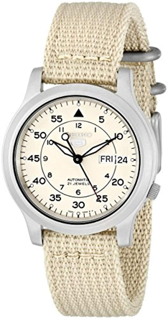 Seiko Men's SNK803 Seiko 5 Automatic Watch with Beige Canvas Strap Round watch featuring beige dial USA Imported Product - EY Shopping