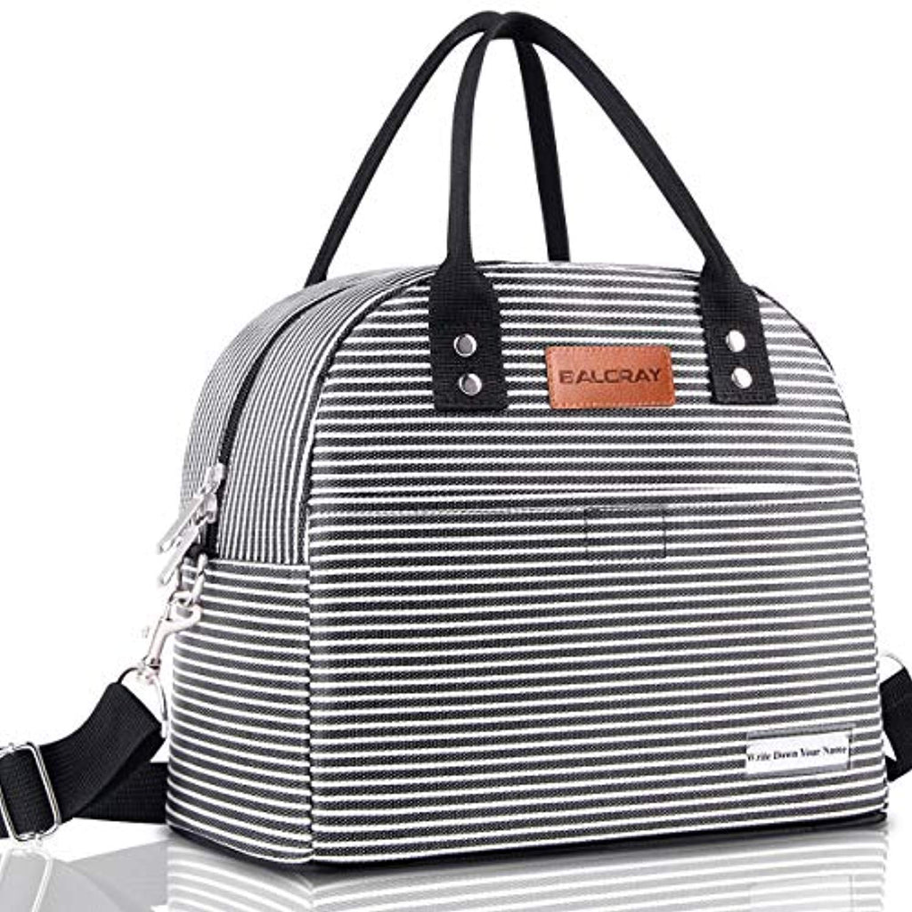 BALORAY Reusable Lunch Bag for Women Men Multi-functional Lunch Tote Bags with Shoulder Strap,Thermal Cooler Bag Lunch Container for Women Men Work Picnic (Black White Strip) USA Imported Product - EY Shopping