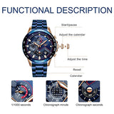 LIGE Watch for Men Fashion, Wrist Watch enquipped with three multifunction Sport Military Steel Waterproof Date Chronograph Analog Quartz Black Wrist Watch Men Brand Watch Casual, Imported Product of USA