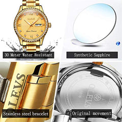 Function is diverse to meet customer needs OLEVS Luxury Diamond Watches for Men Quartz Business Watch Waterproof Watches Roman Numeral Calendar Week Wrist Watch Gift for Birthday Christmas New Year's Day USA Imported Product