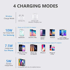 New High Quality Yootech Wireless Charger, Qi-Certified 10W Max Wireless Charging Pad with QC3.0 AC Adapter, Compatible with iPhone 11/11 Pro/11 Pro Max/XS MAX/XR/XS/X/8,Samsung Galaxy S20/Note 10/S10/S9,AirPods Pro USA Imported Product - EY Shopping